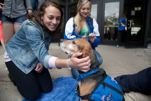 Button gets some attention from UW-Madison Students.